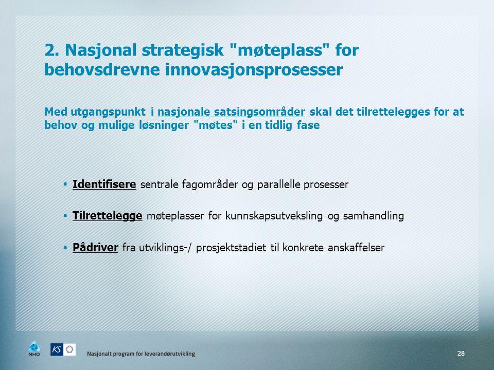 2. Nasjonal strategisk møteplass for behovsdrevne innovasjonsprosesser Med utgangspunkt i nasjonale satsingsområder skal det tilrettelegges for at behov og mulige løsninger møtes i en tidlig fase