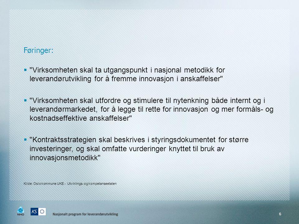 Føringer: Virksomheten skal ta utgangspunkt i nasjonal metodikk for leverandørutvikling for å fremme innovasjon i anskaffelser