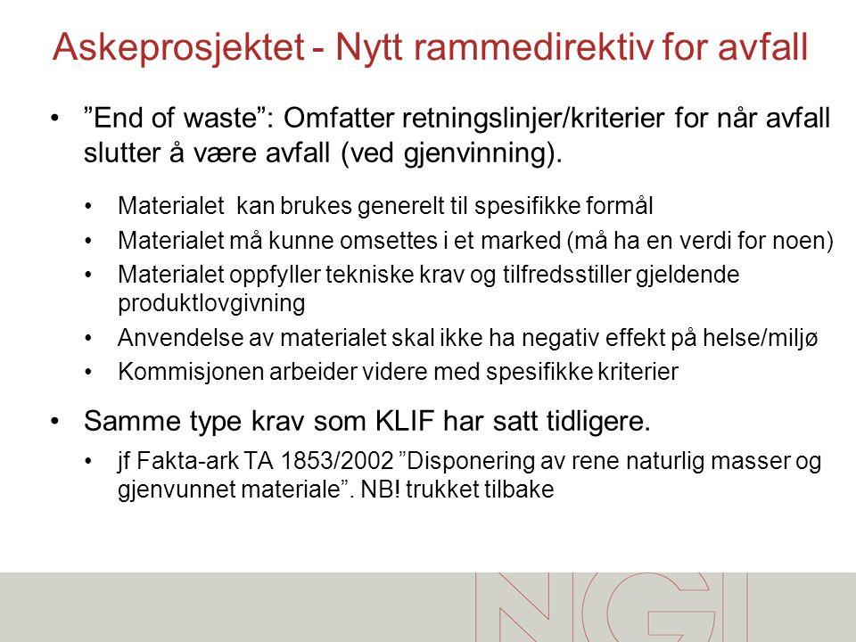 Askeprosjektet - Nytt rammedirektiv for avfall