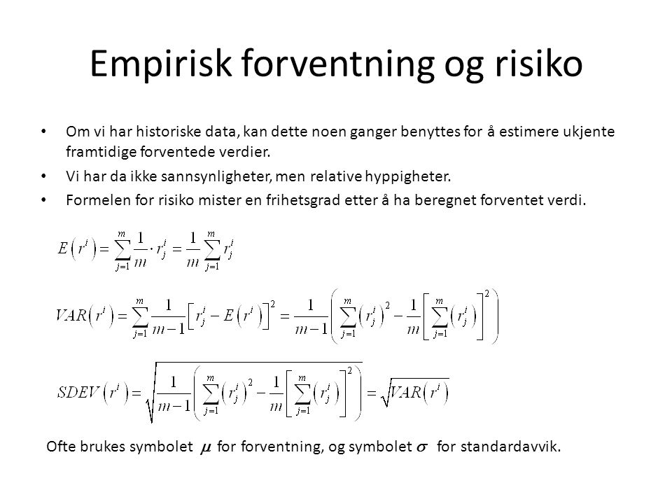 Empirisk forventning og risiko