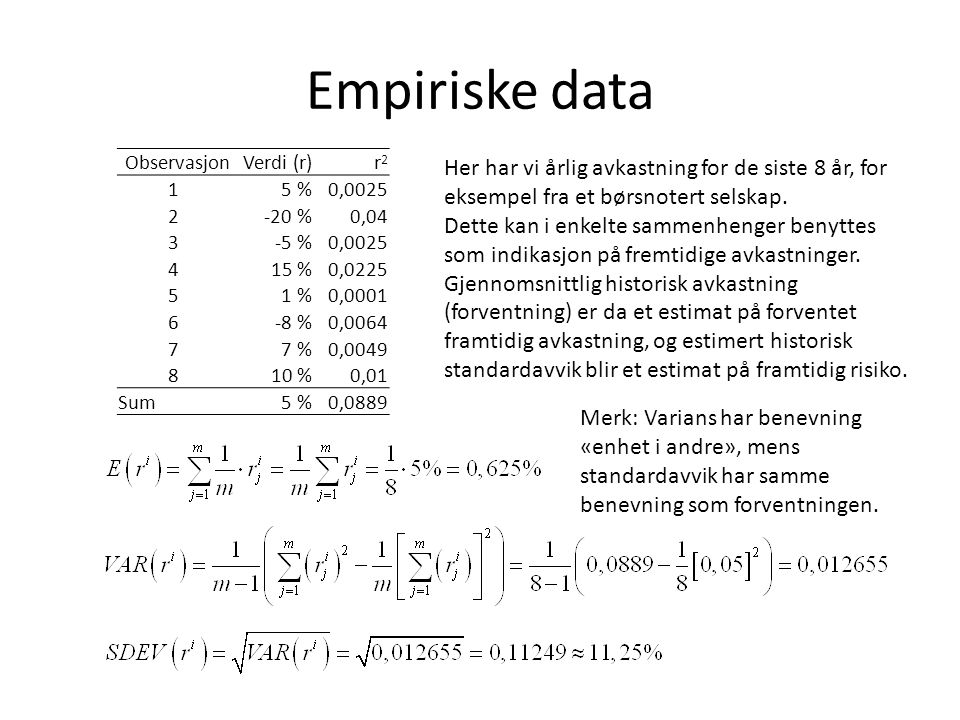 Empiriske data Observasjon. Verdi (r) r2. 1. 5 % 0,0025. 2. -20 % 0,04. 3. -5 % 4. 15 %