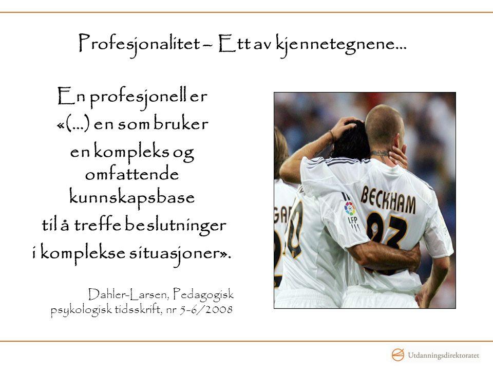 Profesjonalitet – Ett av kjennetegnene…