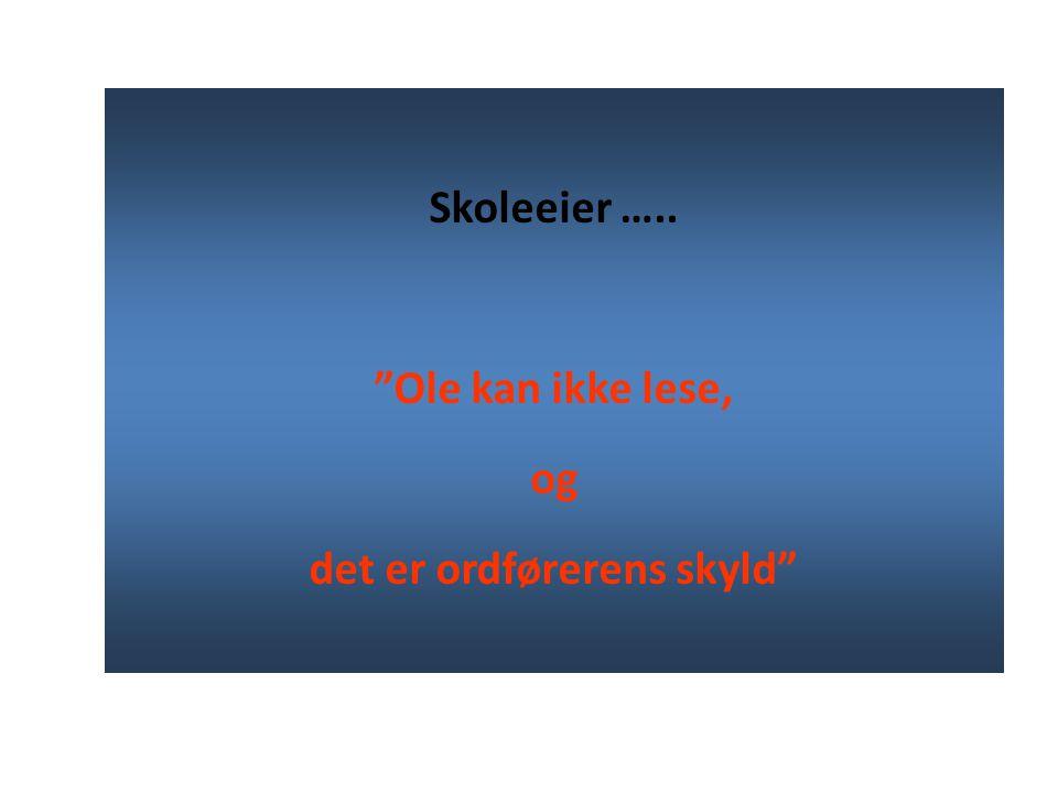 Skoleeier ….. Ole kan ikke lese, og det er ordførerens skyld