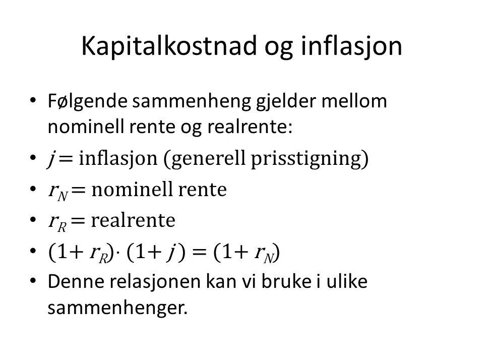 Kapitalkostnad og inflasjon