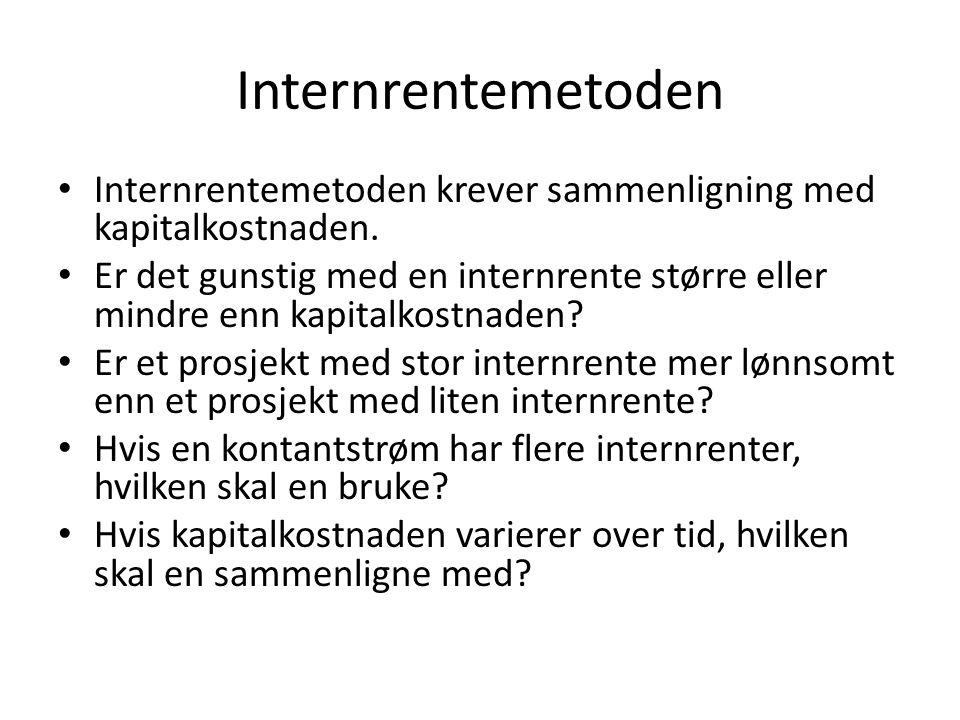 Internrentemetoden Internrentemetoden krever sammenligning med kapitalkostnaden.