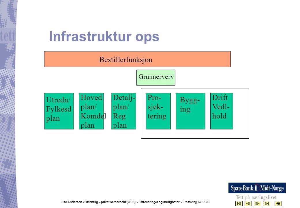 Infrastruktur ops Bestillerfunksjon Hoved plan/ Komdel plan Detalj-