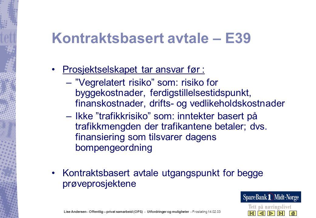 Kontraktsbasert avtale – E39