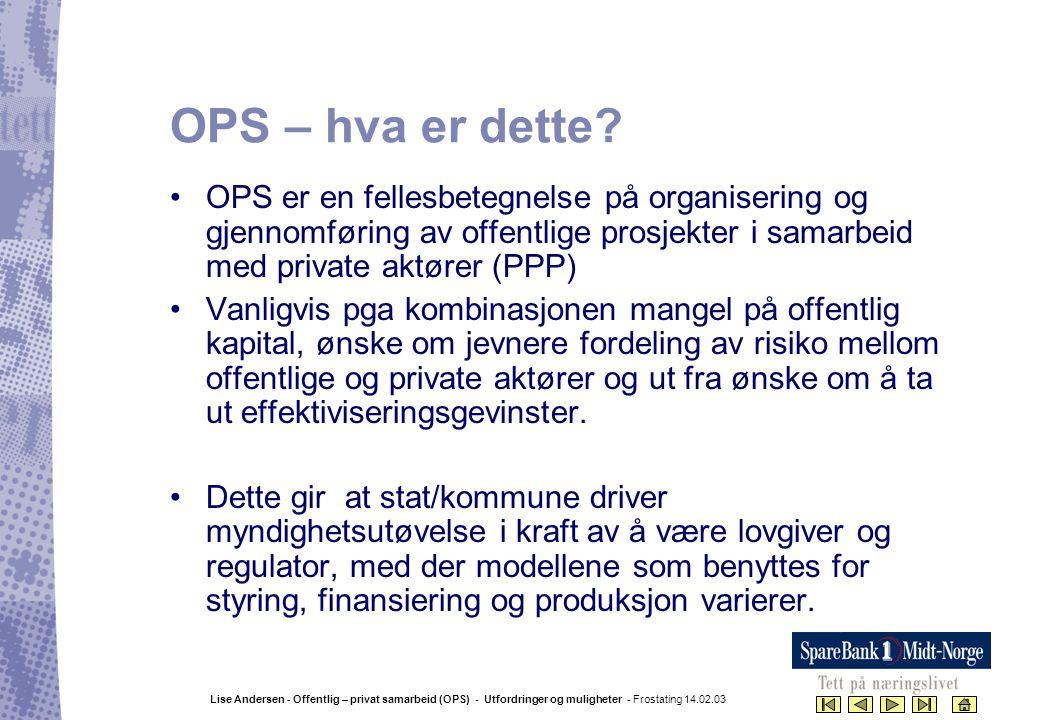 OPS – hva er dette OPS er en fellesbetegnelse på organisering og gjennomføring av offentlige prosjekter i samarbeid med private aktører (PPP)