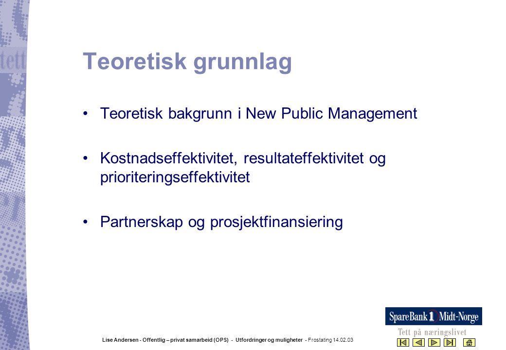 Teoretisk grunnlag Teoretisk bakgrunn i New Public Management