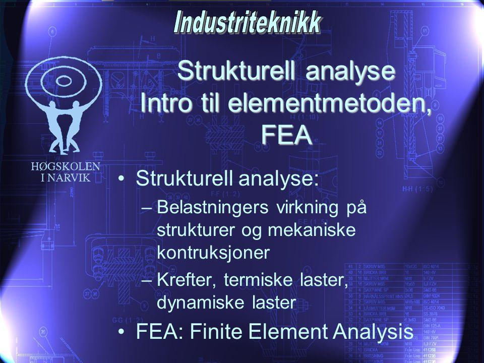 Strukturell analyse Intro til elementmetoden, FEA