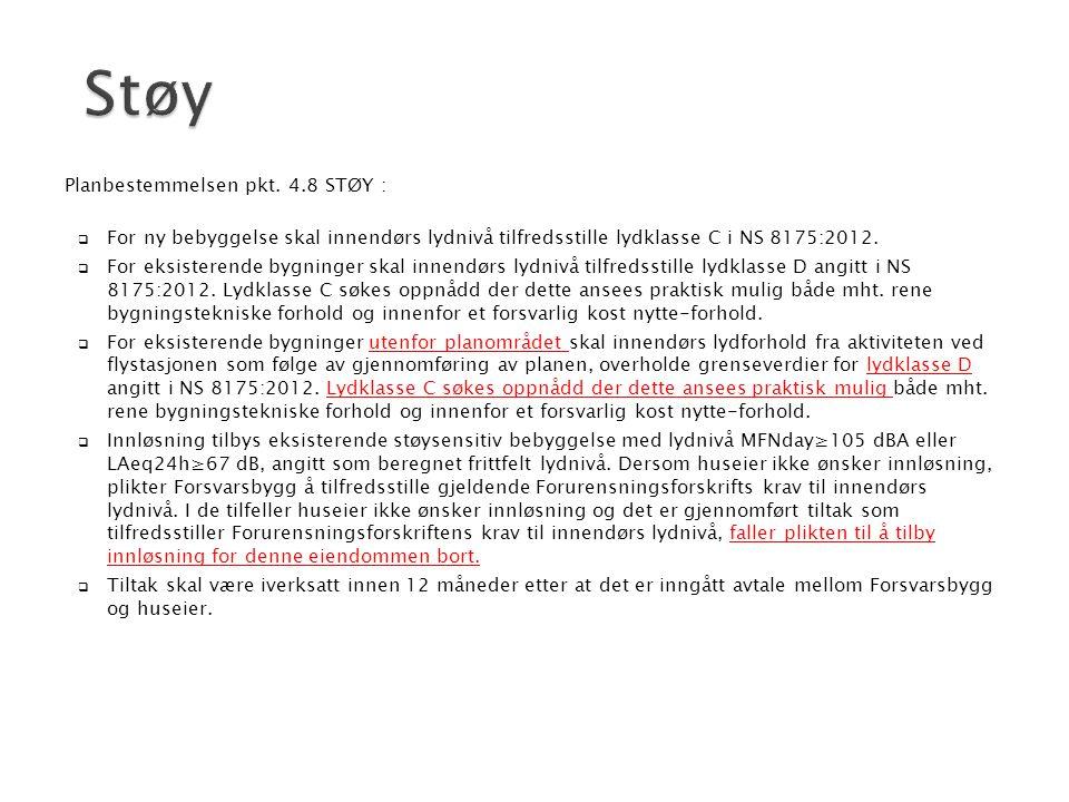 Støy Planbestemmelsen pkt. 4.8 STØY :