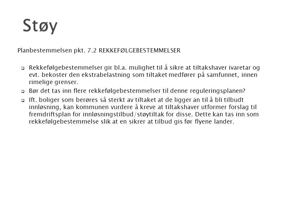 Støy Planbestemmelsen pkt. 7.2 REKKEFØLGEBESTEMMELSER