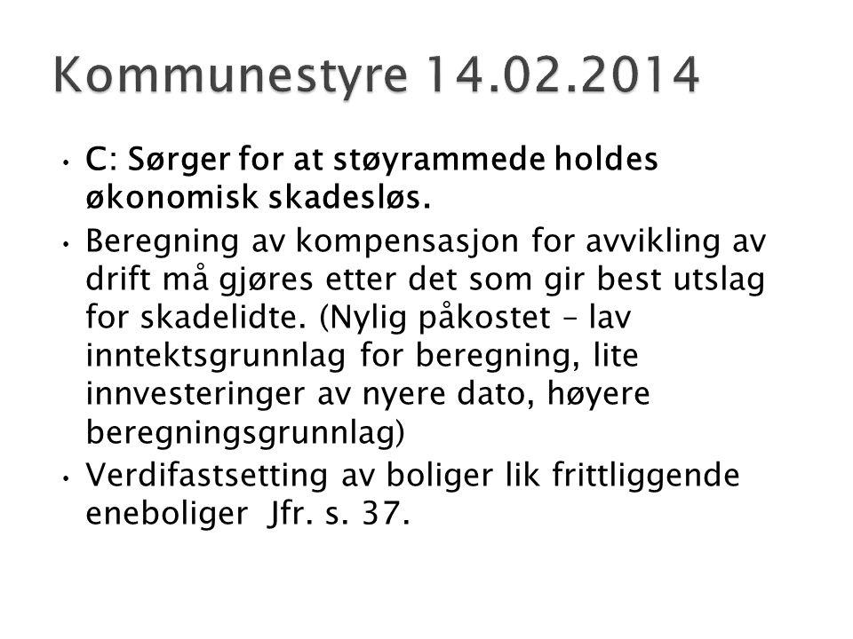 Kommunestyre 14.02.2014 C: Sørger for at støyrammede holdes økonomisk skadesløs.
