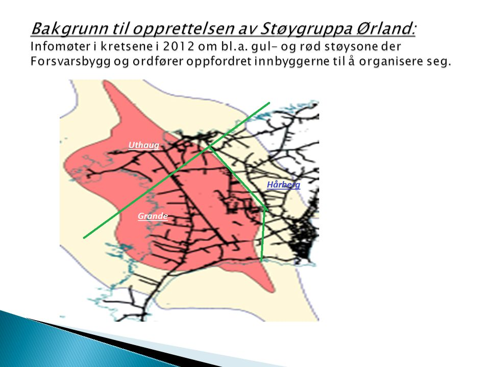 Bakgrunn til opprettelsen av Støygruppa Ørland: Infomøter i kretsene i 2012 om bl.a.