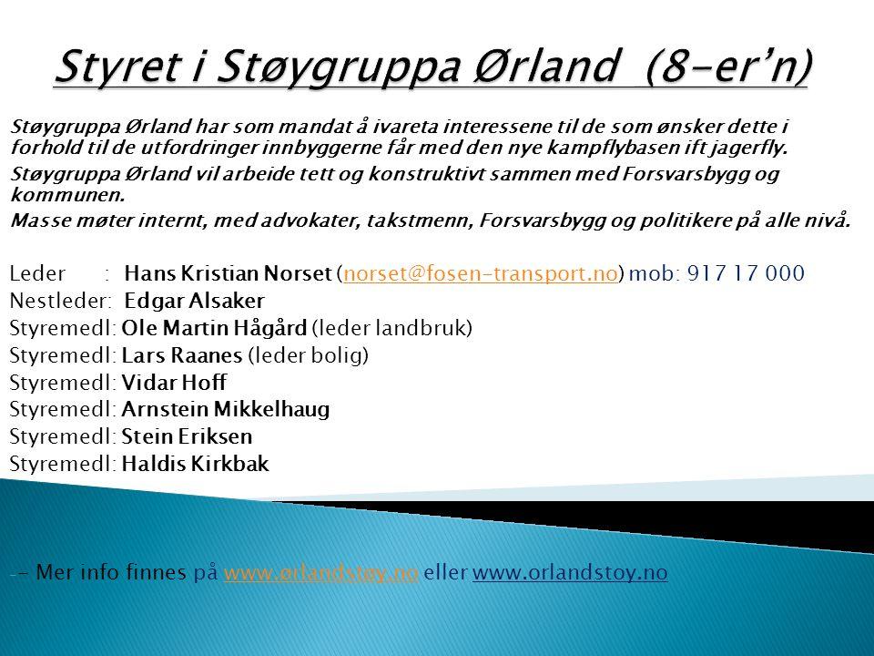 Styret i Støygruppa Ørland (8-er'n)