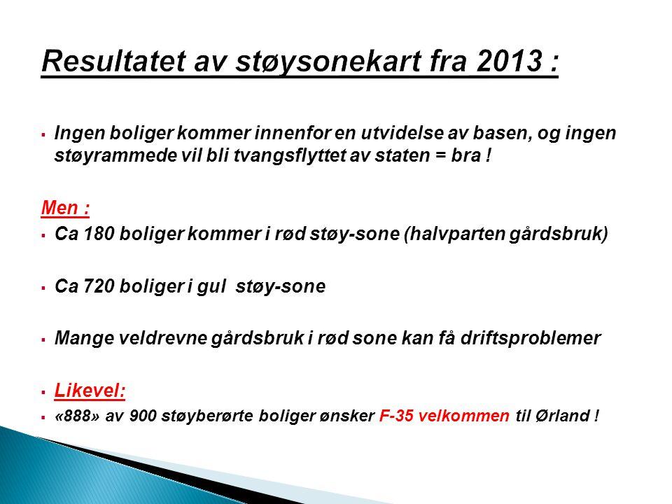 Resultatet av støysonekart fra 2013 :