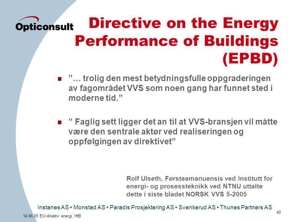 Directive on the Energy Performance of Buildings (EPBD)