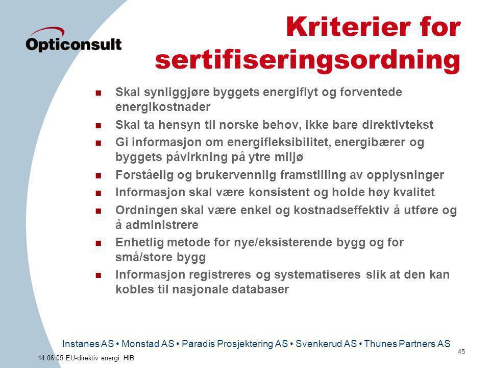 Kriterier for sertifiseringsordning