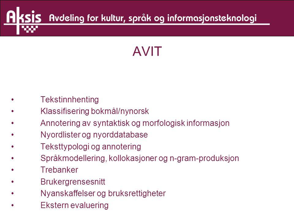 AVIT Tekstinnhenting Klassifisering bokmål/nynorsk