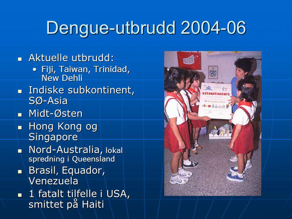 Dengue-utbrudd 2004-06 Aktuelle utbrudd: Indiske subkontinent, SØ-Asia