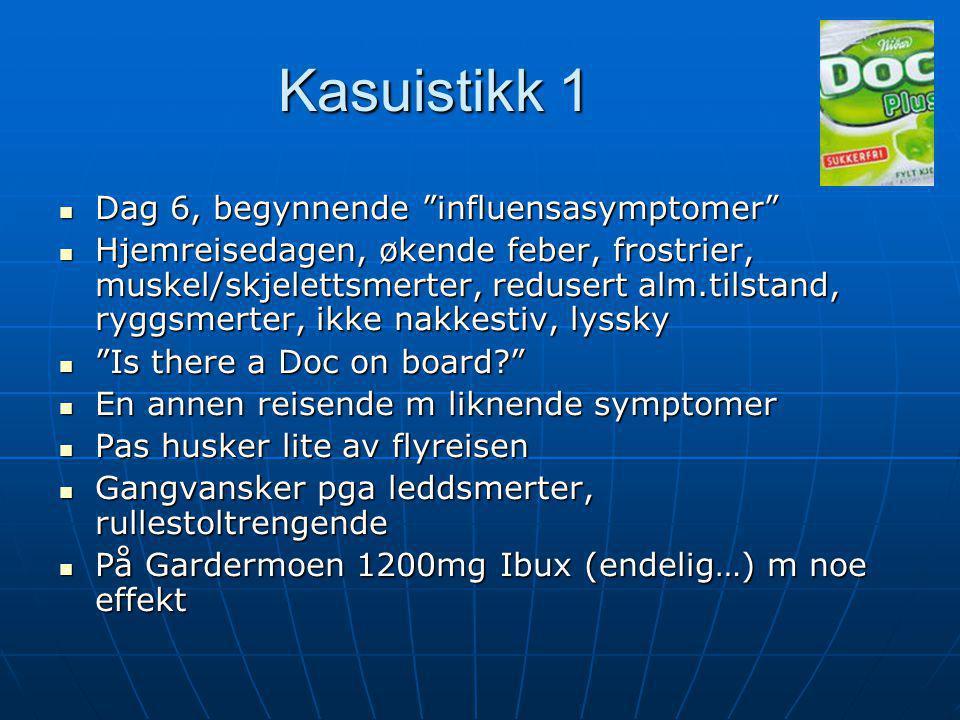 Kasuistikk 1 Dag 6, begynnende influensasymptomer