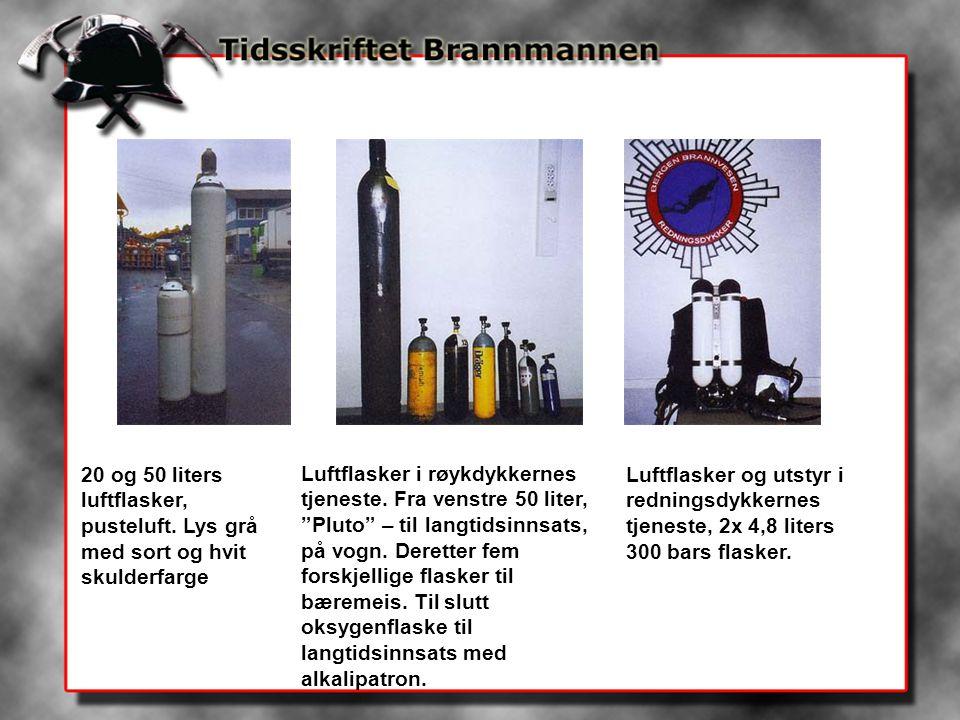 20 og 50 liters luftflasker, pusteluft