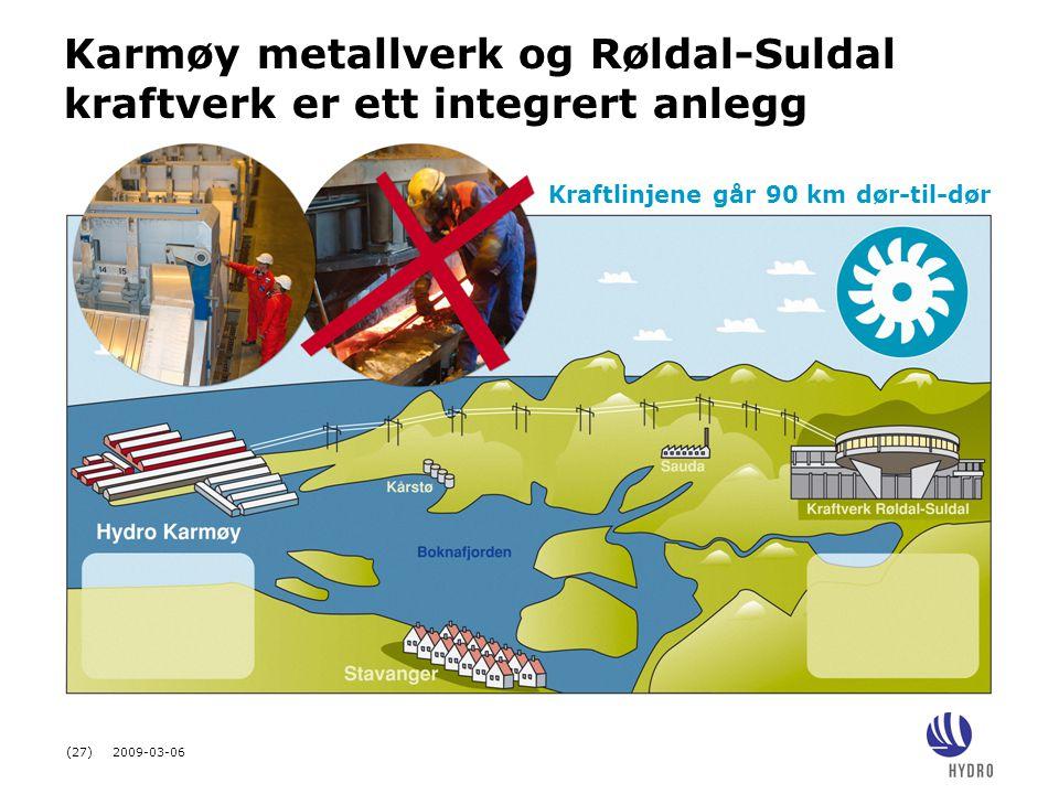 Karmøy metallverk og Røldal-Suldal kraftverk er ett integrert anlegg