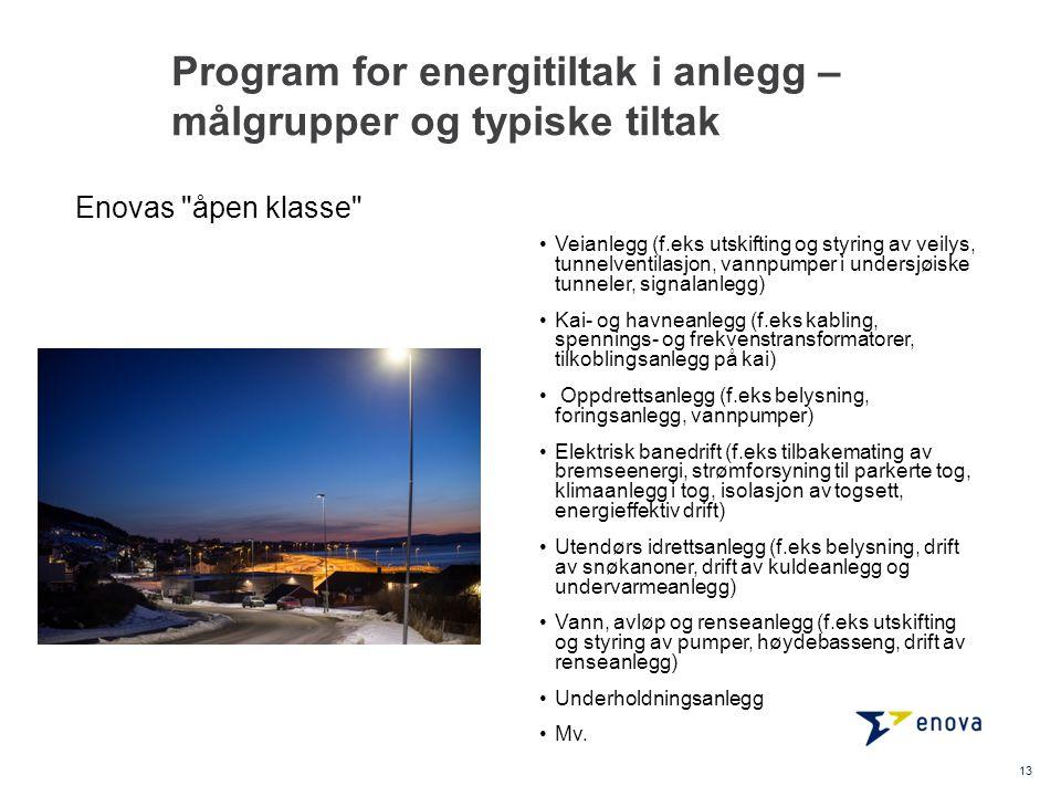Program for energitiltak i anlegg – målgrupper og typiske tiltak