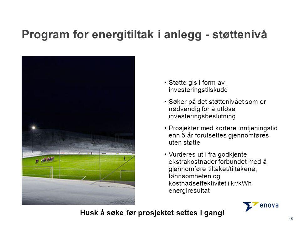 Program for energitiltak i anlegg - støttenivå