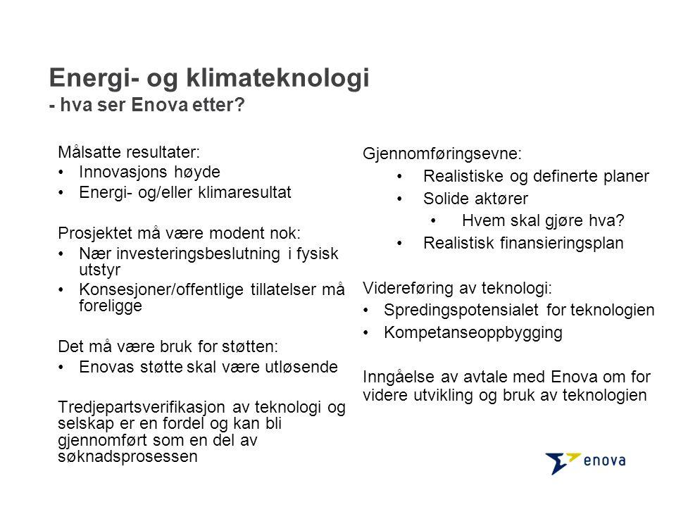 Energi- og klimateknologi - hva ser Enova etter