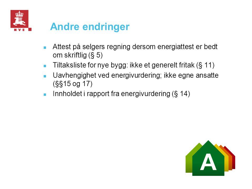 Andre endringer Attest på selgers regning dersom energiattest er bedt om skriftlig (§ 5) Tiltaksliste for nye bygg: ikke et generelt fritak (§ 11)