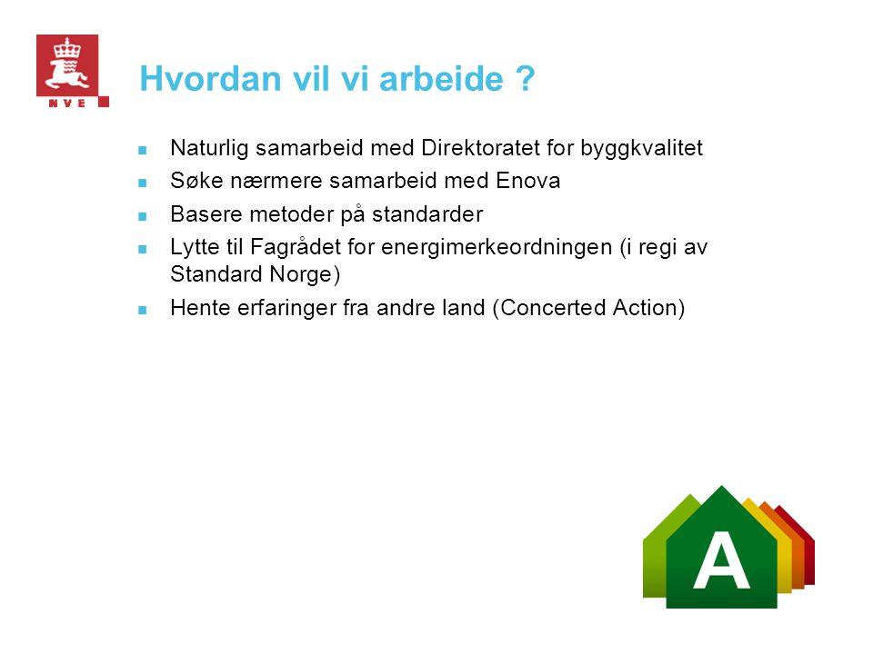 Hvordan vil vi arbeide Naturlig samarbeid med Direktoratet for byggkvalitet. Søke nærmere samarbeid med Enova.