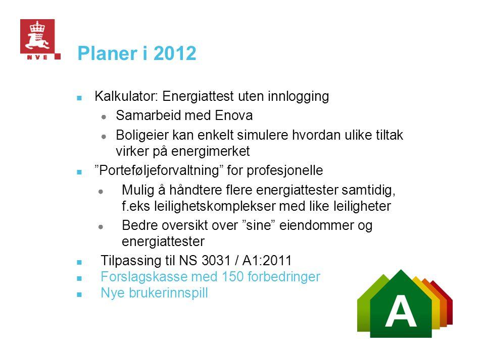 Planer i 2012 Kalkulator: Energiattest uten innlogging