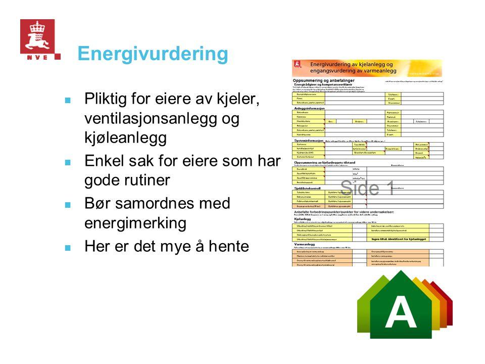 Energivurdering Pliktig for eiere av kjeler, ventilasjonsanlegg og kjøleanlegg. Enkel sak for eiere som har gode rutiner.