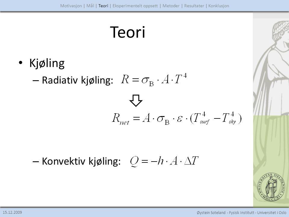 Teori Kjøling Radiativ kjøling: Konvektiv kjøling: