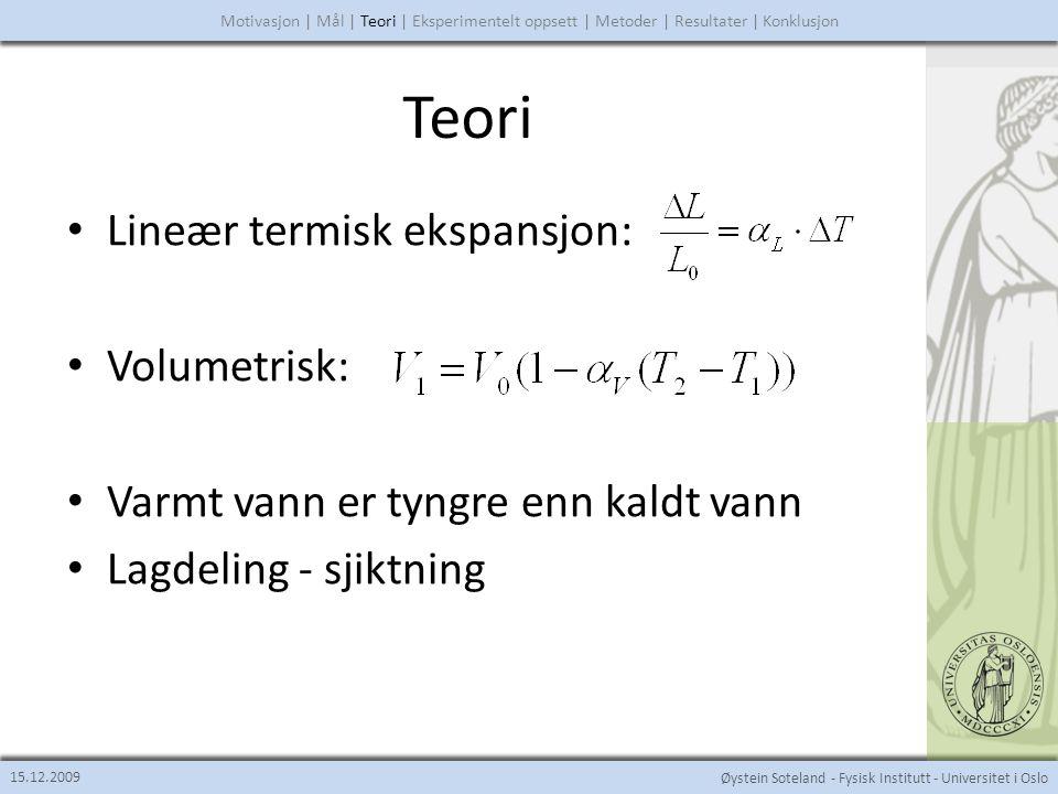 Teori Lineær termisk ekspansjon: Volumetrisk: