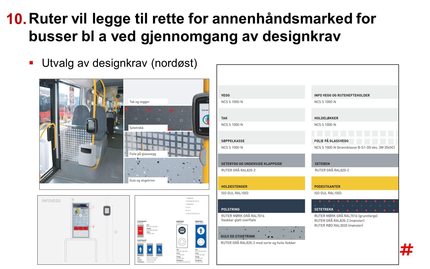 10. Ruter vil legge til rette for annenhåndsmarked for busser bl a ved gjennomgang av designkrav.