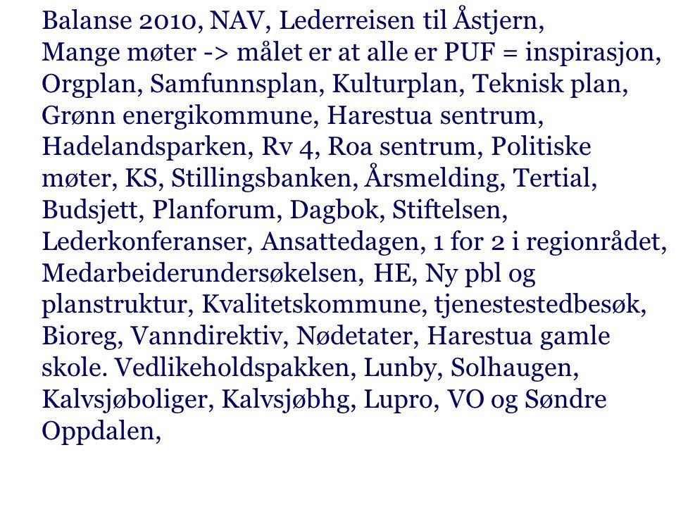 Balanse 2010, NAV, Lederreisen til Åstjern, Mange møter -> målet er at alle er PUF = inspirasjon, Orgplan, Samfunnsplan, Kulturplan, Teknisk plan, Grønn energikommune, Harestua sentrum, Hadelandsparken, Rv 4, Roa sentrum, Politiske møter, KS, Stillingsbanken, Årsmelding, Tertial, Budsjett, Planforum, Dagbok, Stiftelsen, Lederkonferanser, Ansattedagen, 1 for 2 i regionrådet, Medarbeiderundersøkelsen, HE, Ny pbl og planstruktur, Kvalitetskommune, tjenestestedbesøk, Bioreg, Vanndirektiv, Nødetater, Harestua gamle skole.