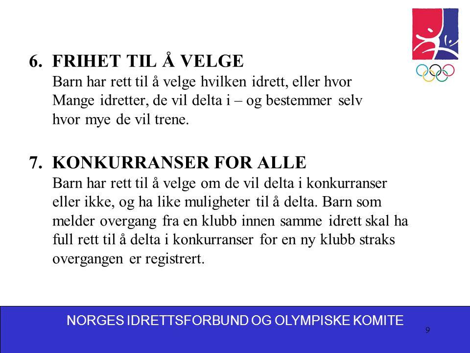 6. FRIHET TIL Å VELGE 7. KONKURRANSER FOR ALLE