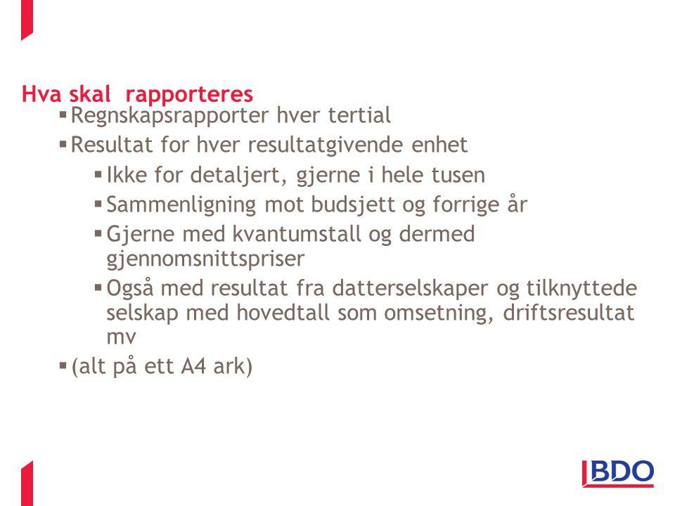 Hva skal rapporteres Regnskapsrapporter hver tertial