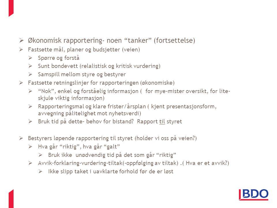 Økonomisk rapportering- noen tanker (fortsettelse)