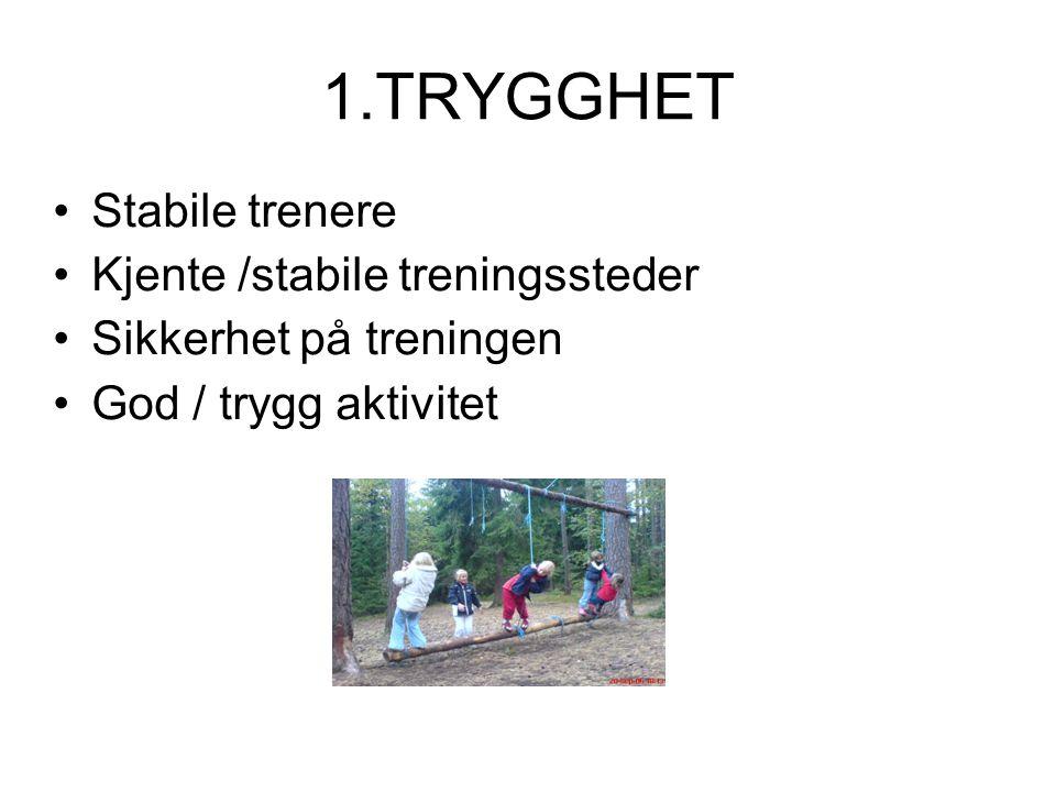 1.TRYGGHET Stabile trenere Kjente /stabile treningssteder