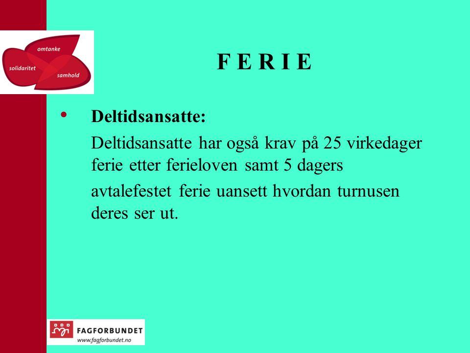 F E R I E Deltidsansatte: