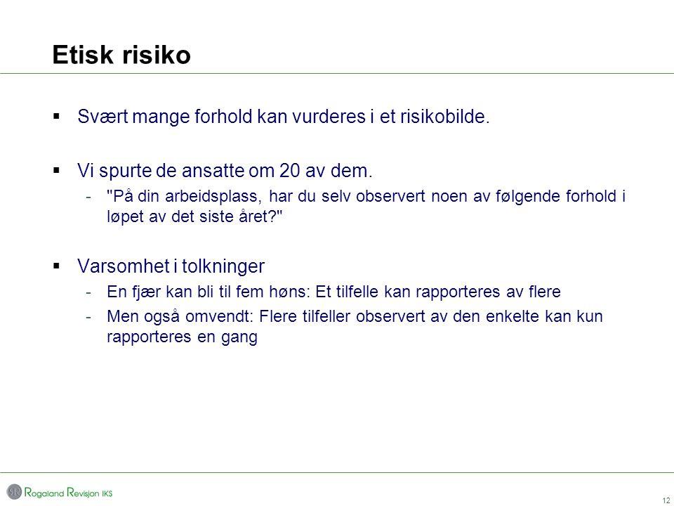 Etisk risiko Svært mange forhold kan vurderes i et risikobilde.