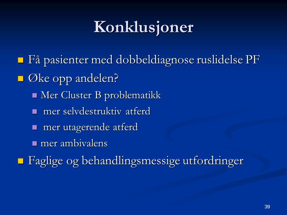 Konklusjoner Få pasienter med dobbeldiagnose ruslidelse PF