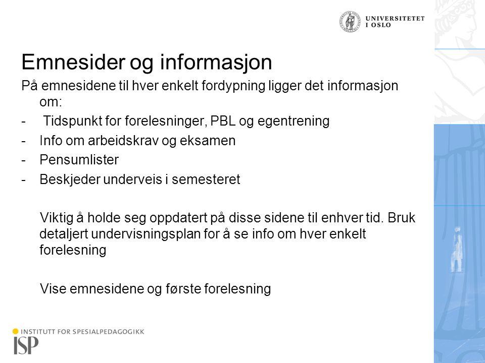 Emnesider og informasjon