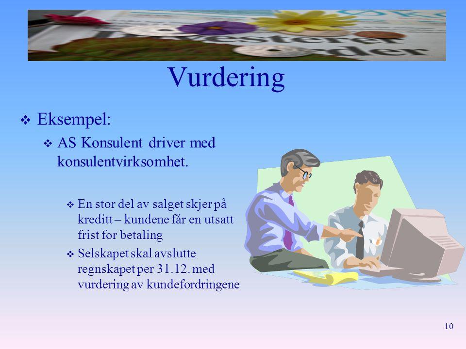 Vurdering Eksempel: AS Konsulent driver med konsulentvirksomhet.