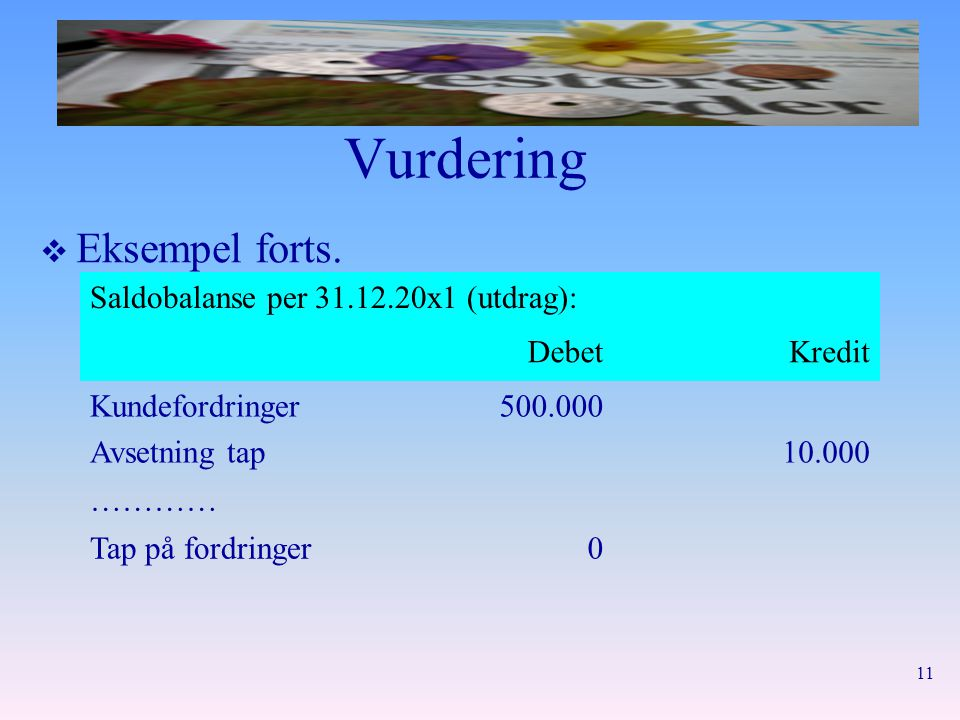 Vurdering Eksempel forts. Saldobalanse per 31.12.20x1 (utdrag): Debet