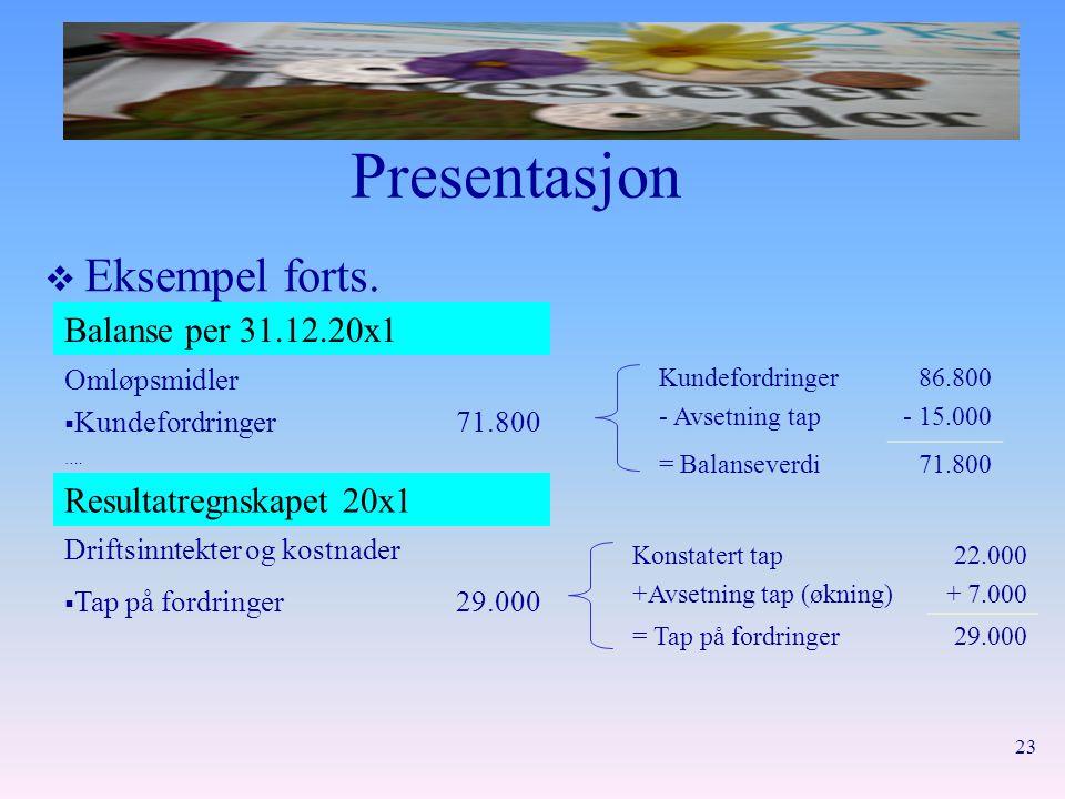 Presentasjon Eksempel forts. Balanse per 31.12.20x1