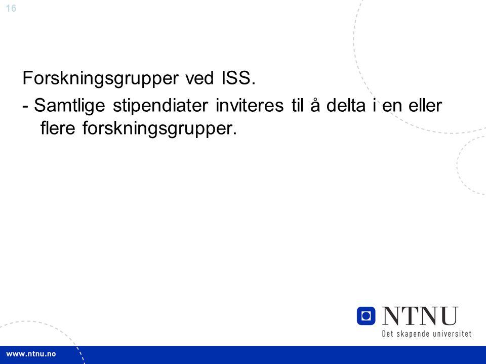 Forskningsgrupper ved ISS.